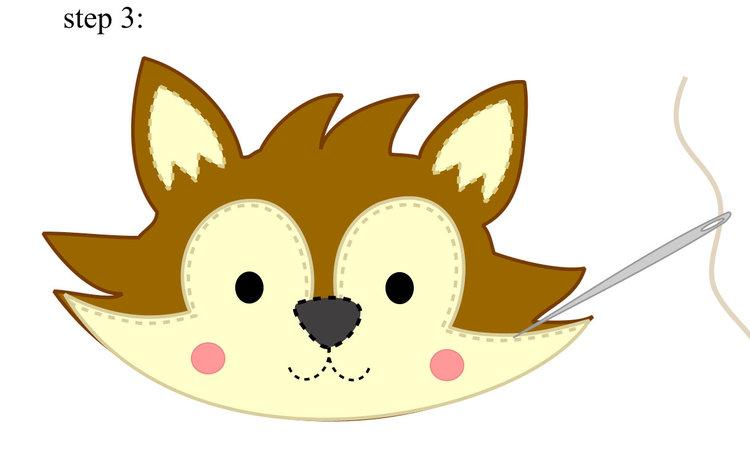 Брошь из фетра лиса-пришейте ушки