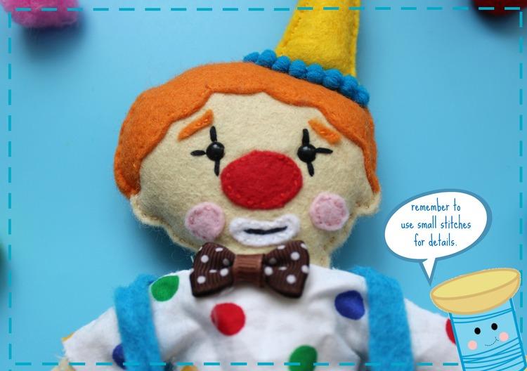 Клоун из фетра-пришейте лицо