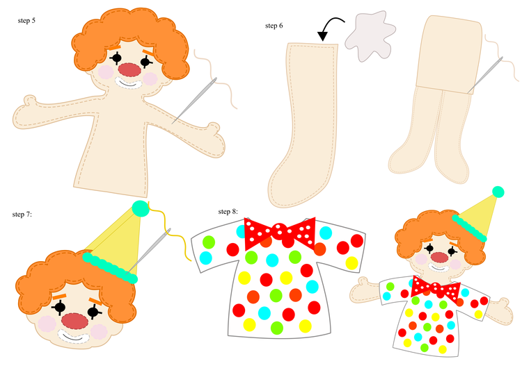 Клоун из фетра-пришейте ноги, колпак и рубашку