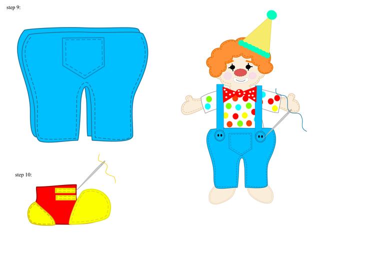 Клоун из фетра-как шить комбинезон и ботинки