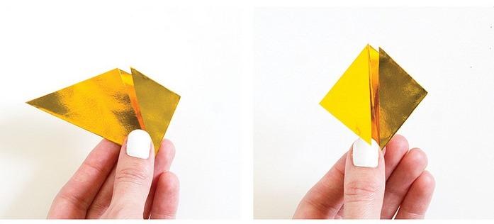 Оригами кристалл из модулей-заверните углы к центру