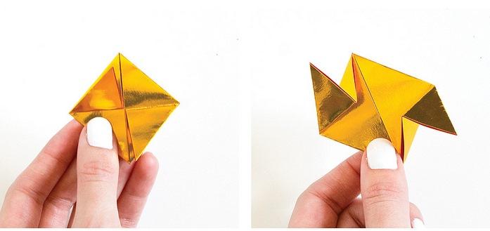 Оригами кристалл из модулей-загните закрылки посередине