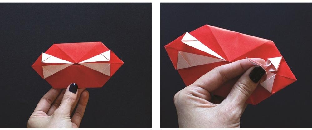 Оригами губы-сформируйте клыки