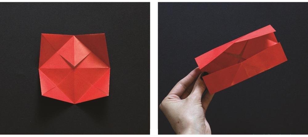 Оригами губы-сложите к середине