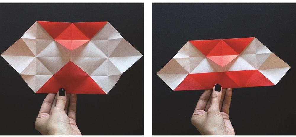 Оригами губы-разверните складки и подверните