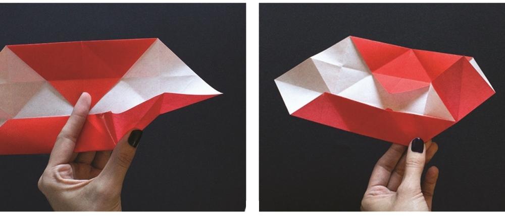 Оригами губы-вставьте уголки внутрь