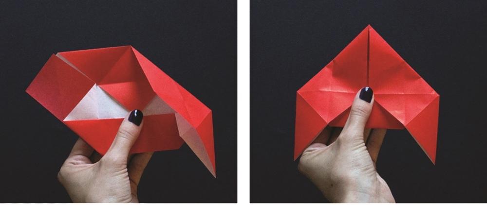 Оригами губы-опустите закрылки вниз