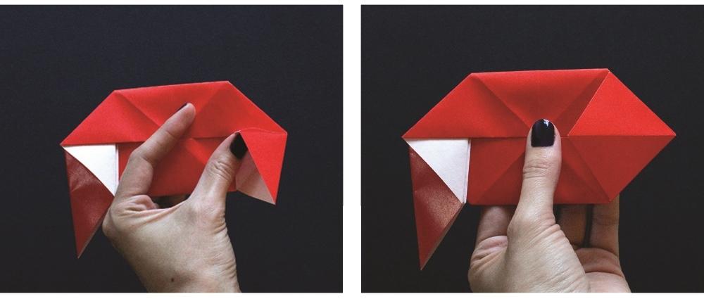 Оригами губы-разверните складки