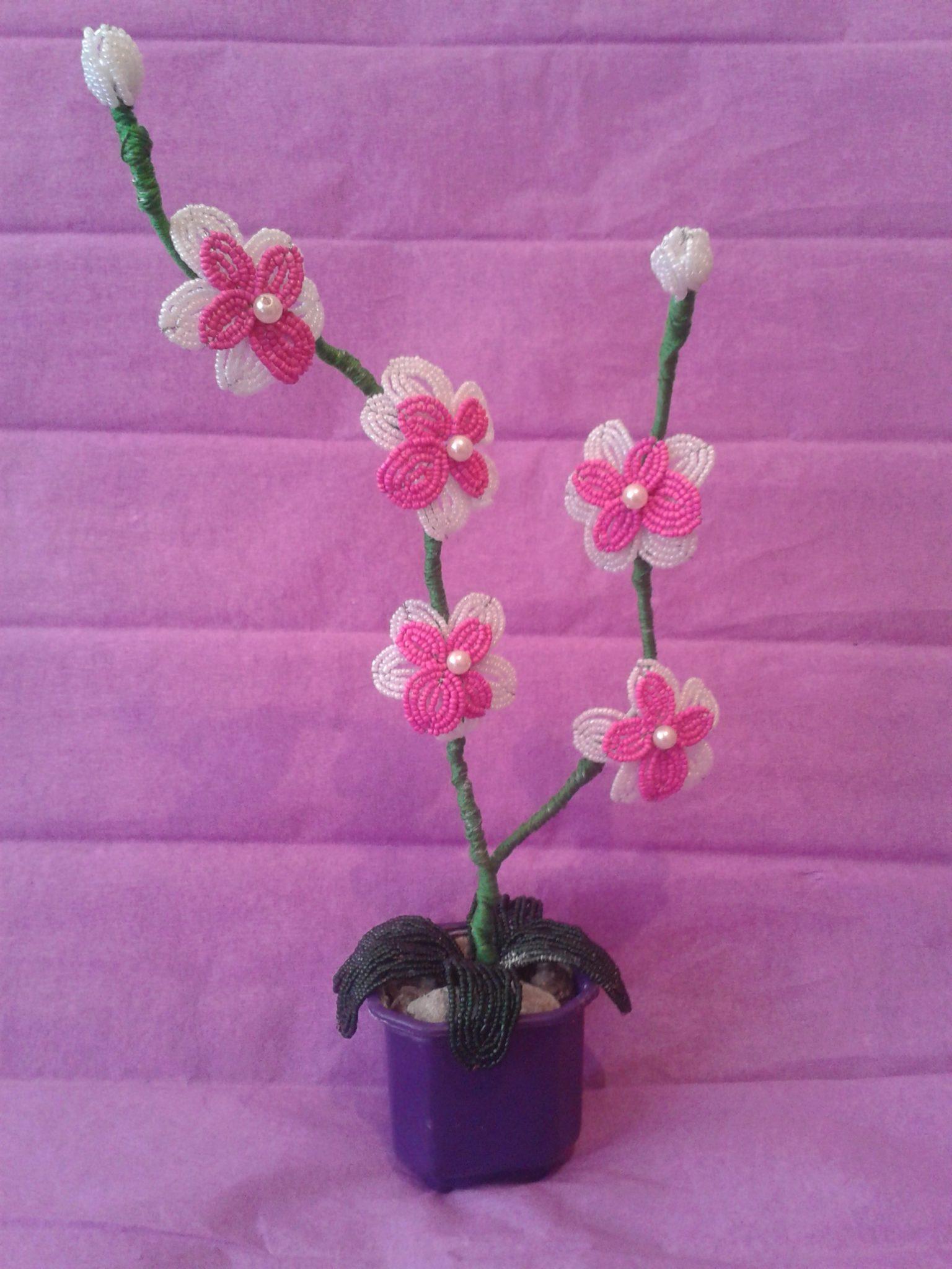 Как из бисера сделать орхидею фото