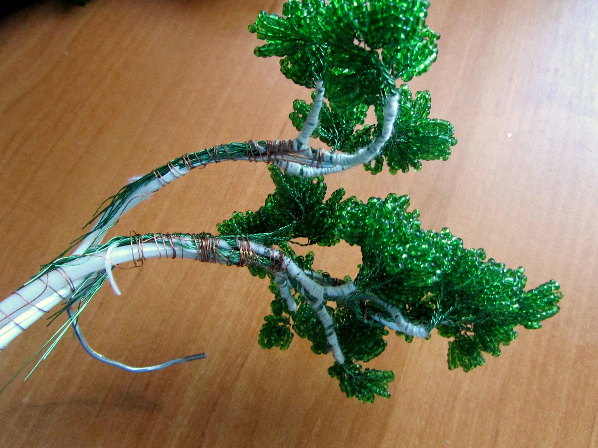 Как сделать дерево из бисера пошаговая фото