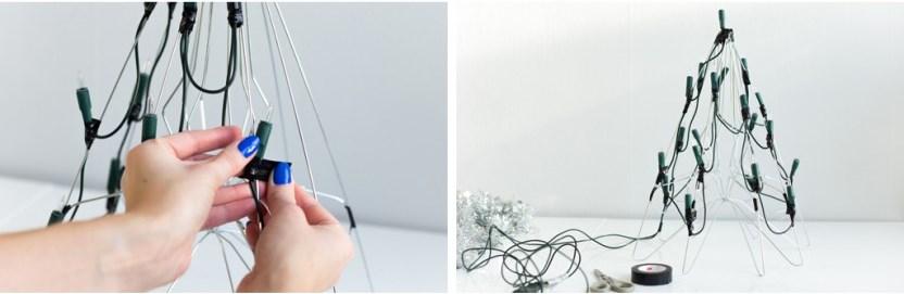 Елка из мишуры-закрепите все лампочки изолентой