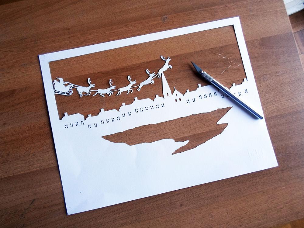 Новогодняя картина из бумаги-вырезанный шаблон