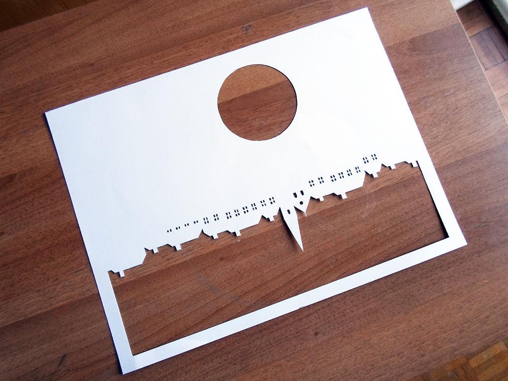 Новогодняя картина из бумаги-вырезанный 4 шаблон