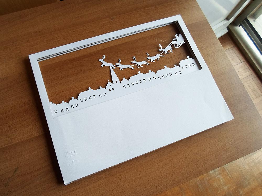 Новогодняя картина из бумаги-3 слой