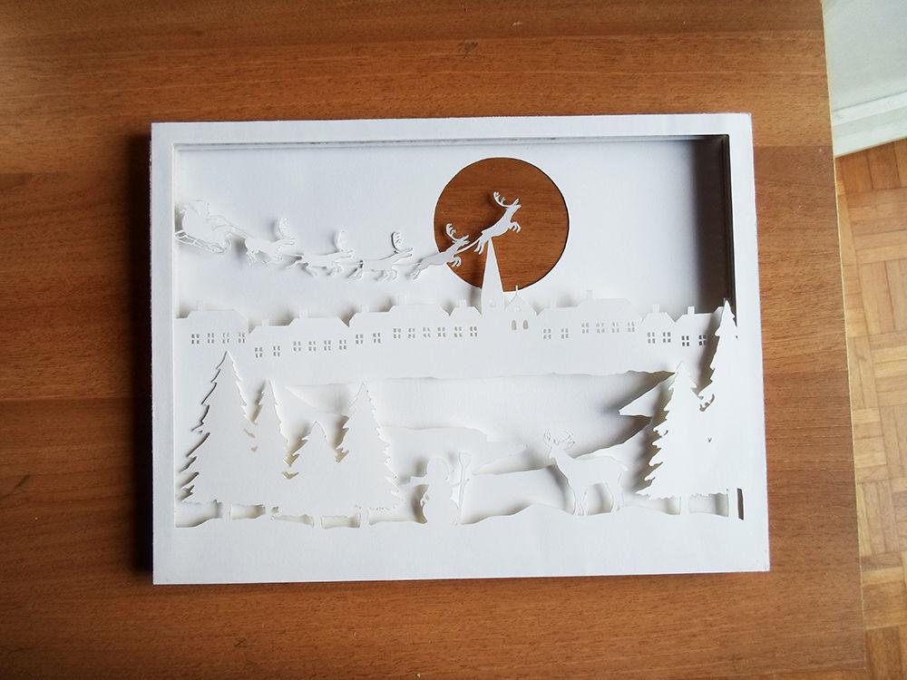 Новогодняя картина из бумаги-все слои склеены вместе