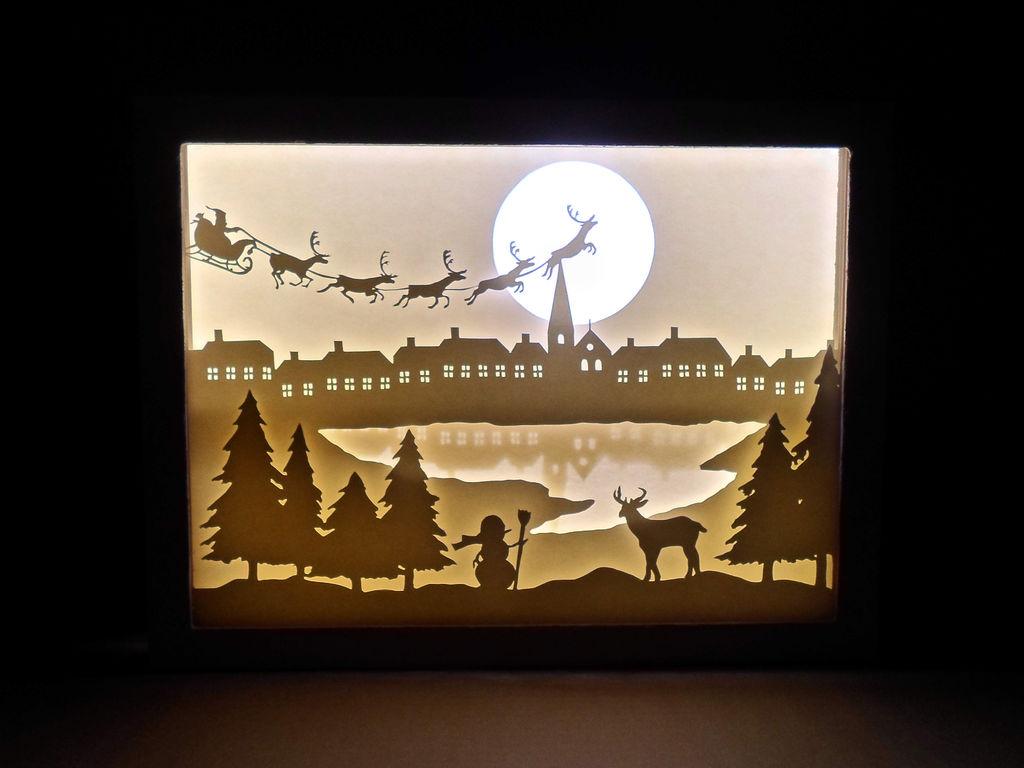 Новогодняя картина из бумаги с подсветкой