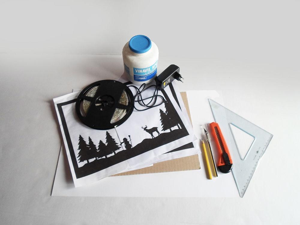Новогодняя картина из бумаги-материалы