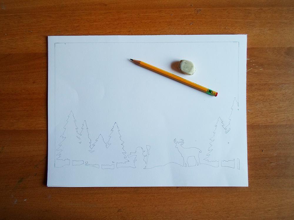 Новогодняя картина из бумаги-переведите шаблоны на белую бумагу
