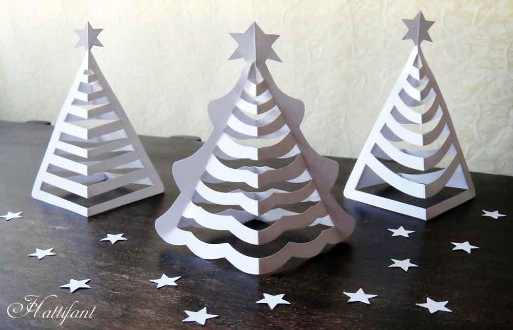 Объемная елка из бумаги со звездами