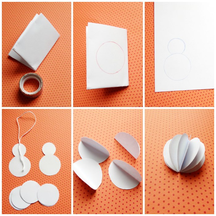 Снеговик из бумаги-процесс изготовления
