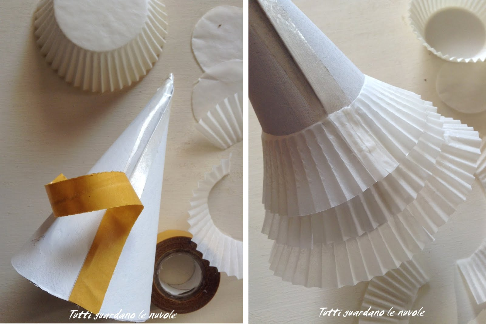 Заснеженная елочка-приклейте ленты на конус