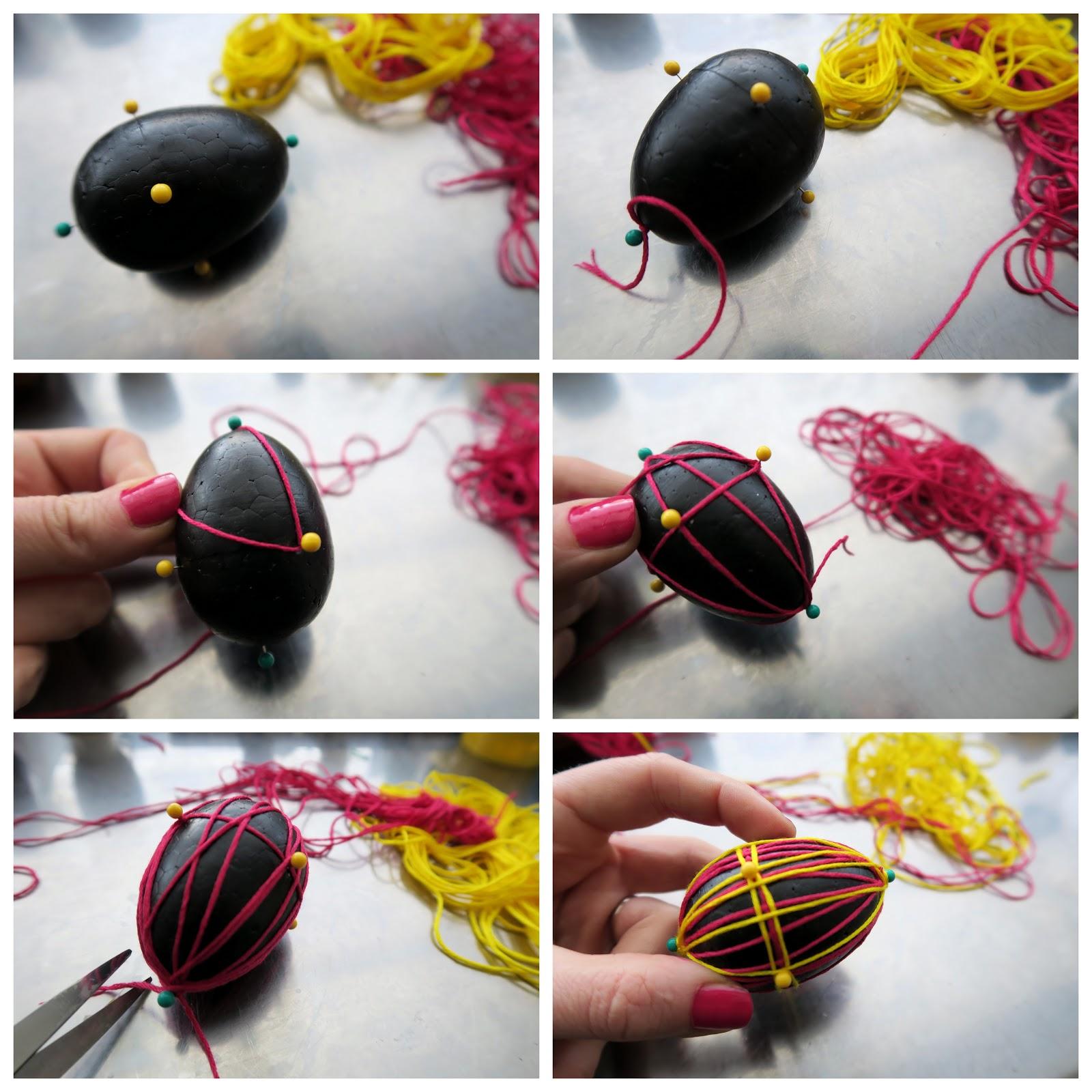 Декор пасхальных яиц-украшение нитками