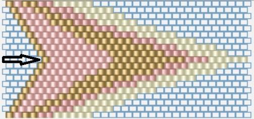 Кулон треугольник из бисера-схема плетения