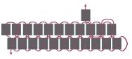 Кулон треугольник из бисера-схема для перемещения нитей