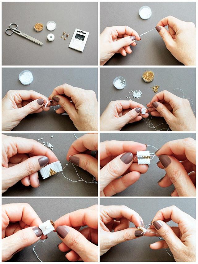 Кольцо из бисера для начинающих-техника плетения кольца
