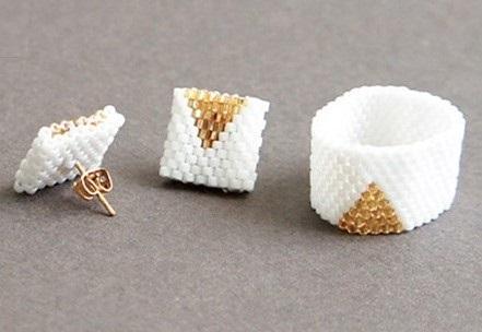 Кольцо из бисера для начинающих плюс серьги
