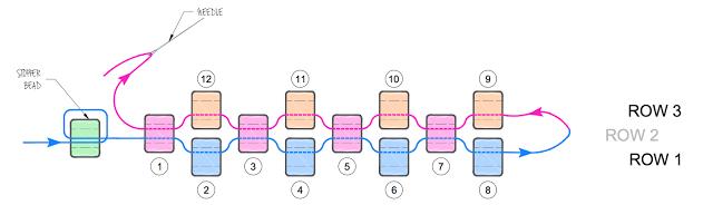 Круглый кулон из бисера-схема 3 ряда