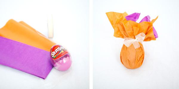 Пасхальные корзинки-оформите в мешочек