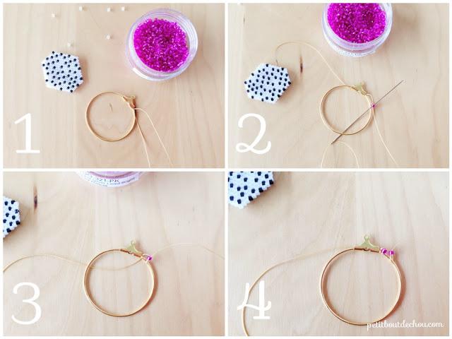 Сережки из бисера-начало оплетения обруча