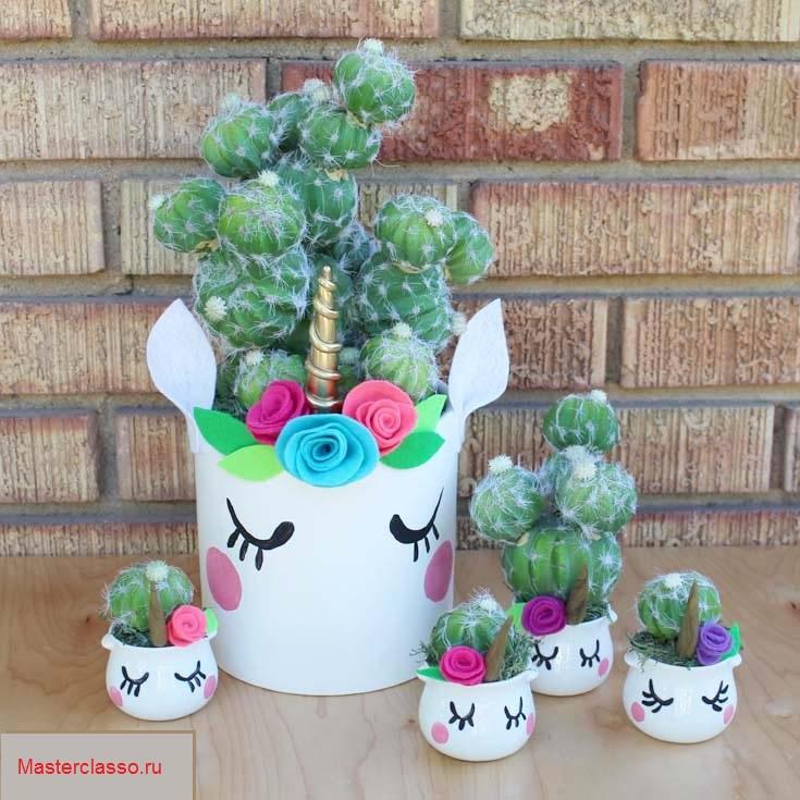 Декор цветочных горшков - готовая работа