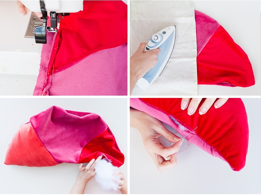 Как сшить декоративную подушку - сшейте обе части подушки вместе и заполните ее набивкой