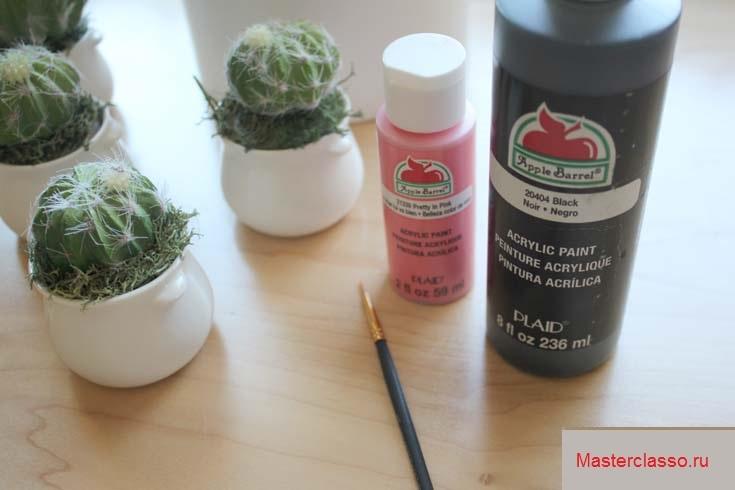 Декор цветочных горшков - подготовьте краску