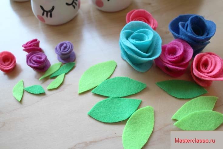 Декор цветочных горшков - вырежьте из зеленого фетра листья