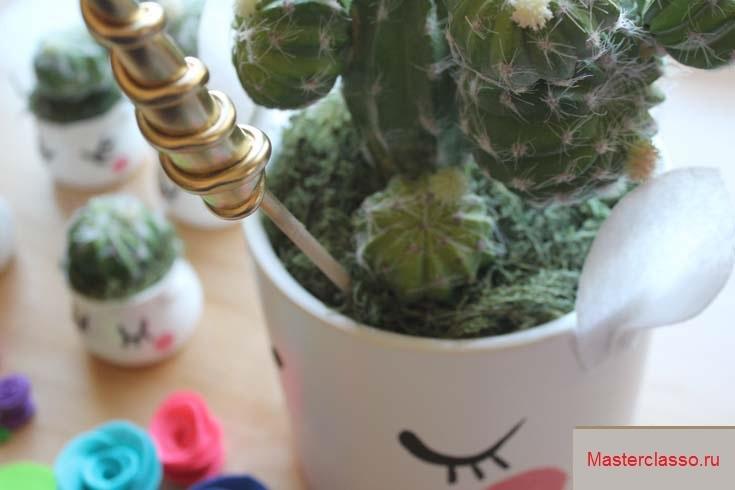 Декор цветочных горшков - вставьте рог