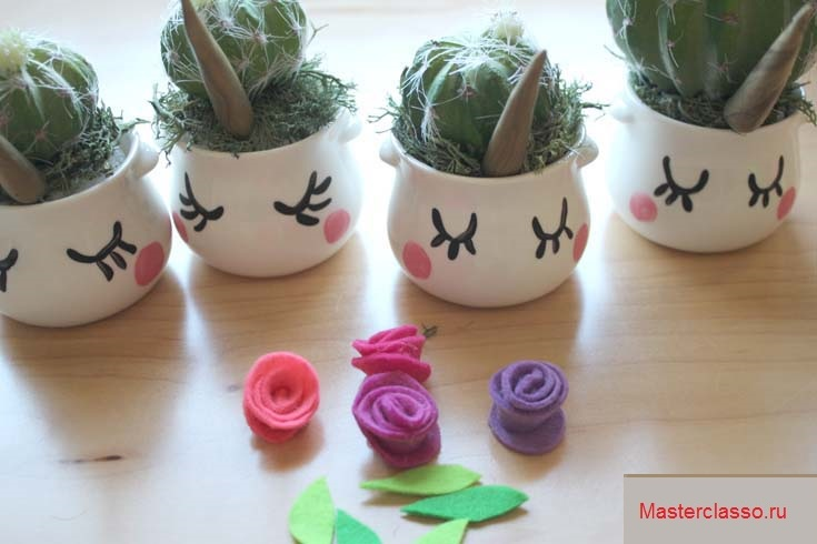 Декор цветочных горшков - вставьте рожки