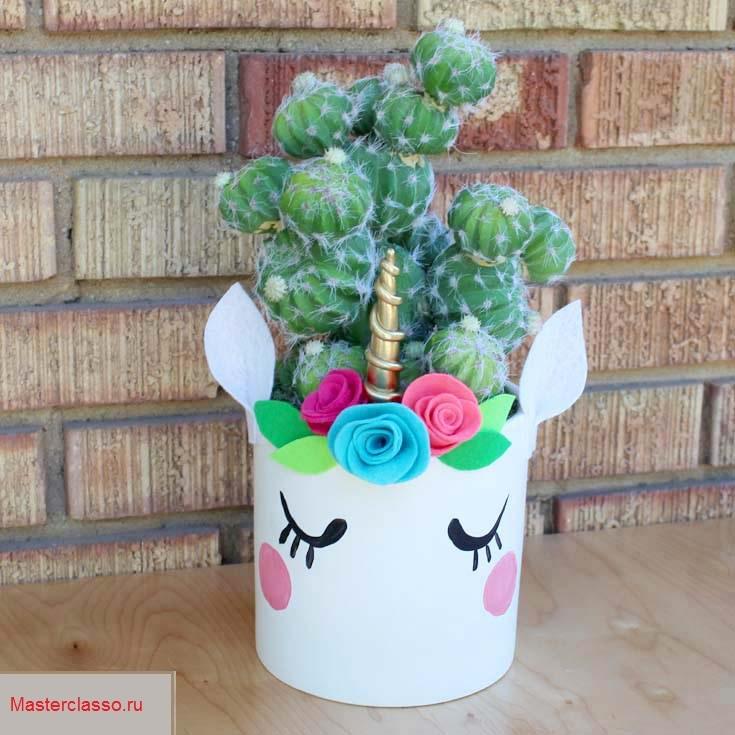 Декор цветочных горшков - украшение большого горшка
