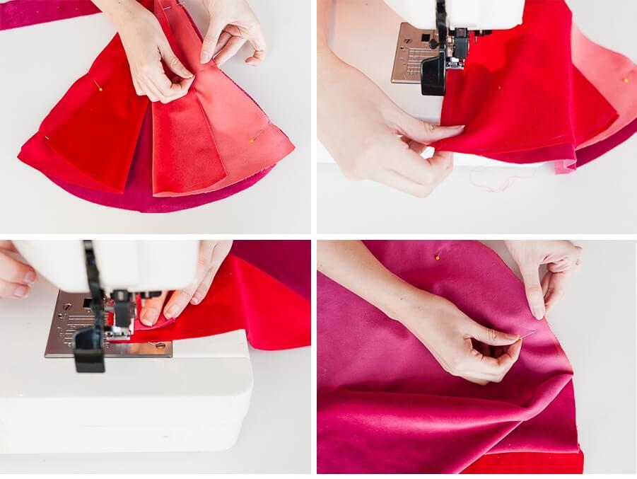 Как сшить декоративную подушку - сшейте куски ткани вместе