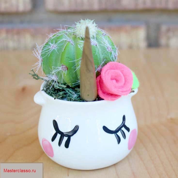 Декор цветочных горшков - оформите маленькие горшочки
