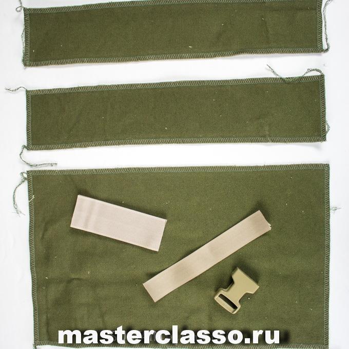 Как сшить рюкзак - поместите перед собой детали для кармана