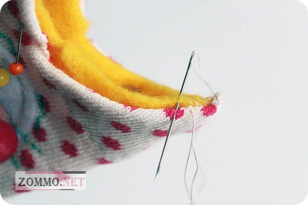 Сшиваем подкладку и носок