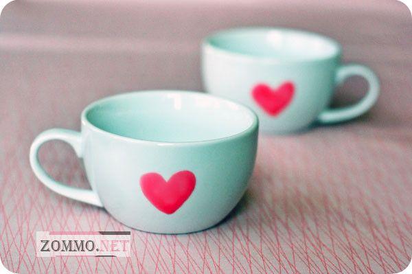 Чашки с сердечками
