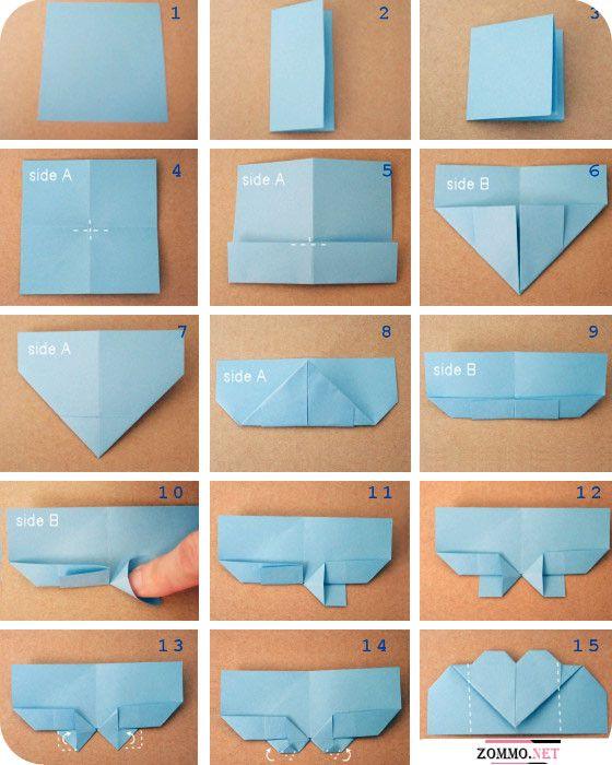 Как делается закладка для книги с сердечком(оригами)