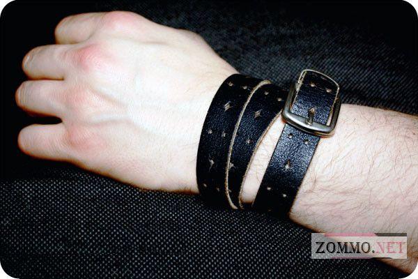 Мужской браслет из старого ремня