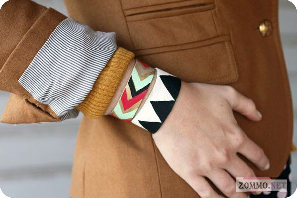 Яркий кожаный браслет своими руками