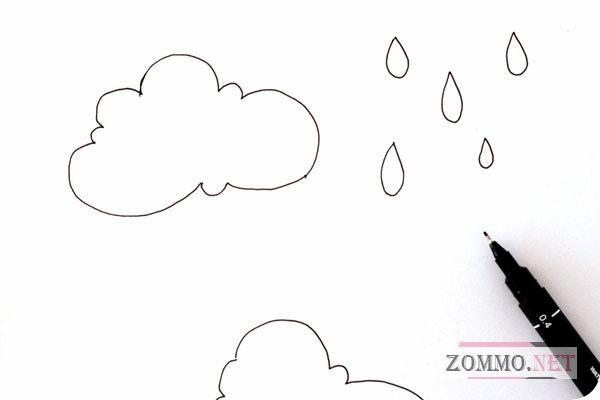 Рисуем дизайн облака и капелек