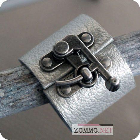 Кожаный браслет с железной застежкой